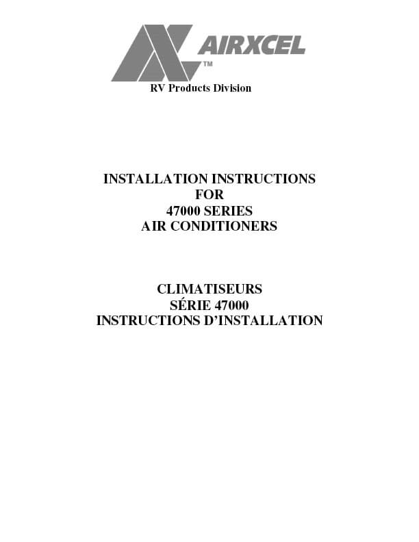 Airxcel Air Conditioner Manual